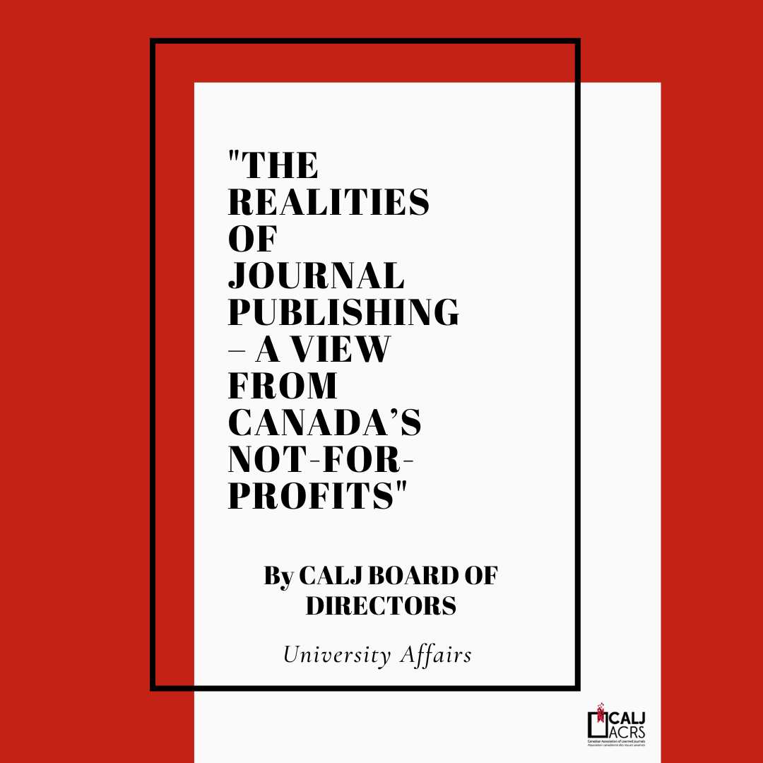 The realities of journal publishing – a view from Canada's not-for-profits